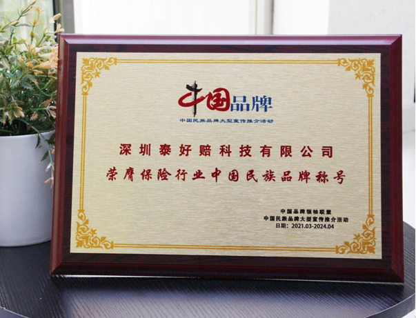 泰好赔荣膺保险行业中国民族品牌称号 (1)